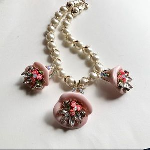 Jewelry - Statement Necklace Pink Floral Pendants Faux Pearl